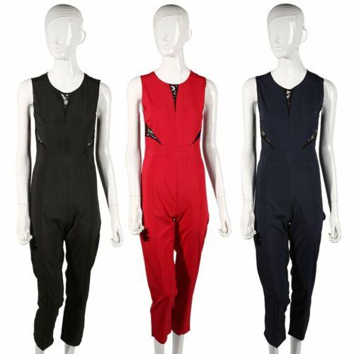 UK Womens 3 Colour Evening Party Playsuit Ladies Lace Long Jumpsuit  Da