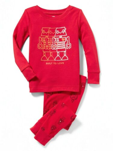 2 PC SET ROBOT WINTER FALL BUILT TO LOVE NWT BOYS OLD NAVY PAJAMAS PJS SIZE 2T