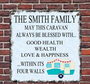 Personalised Caravan Blessing Metal Hanging Plaque Wall Sign Family Present Gift