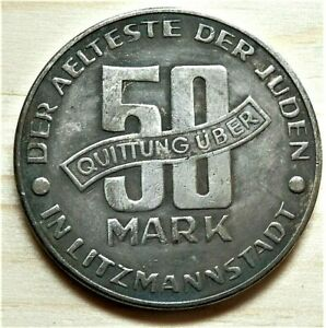 WW2-NAZI-GERMANY-ERA-JUDE-JEWISH-50-MARK-EXONUMIA-COIN-GETTO-1943-LITZMANNSTA