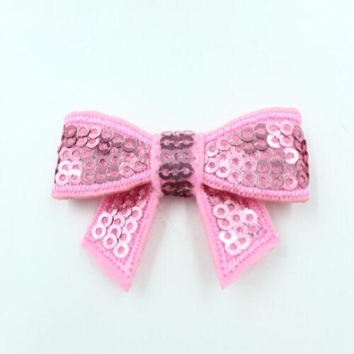 30pcs//lot 8colors 5cm DIY Shiny Sequin Bows Knot Without Clips Hair Bows