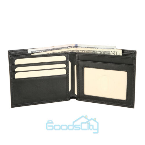 Mens Bifold Genuine Leather RFID Blocking Black Credit Card//ID Security Wallet