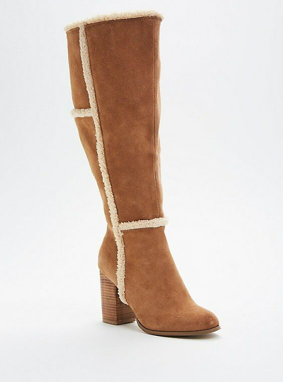 Torrid Camel Faux Suede Shearling Trim Heel Stiefel Wide Wide Wide Width Calf Sz 10.5  42635 b24655
