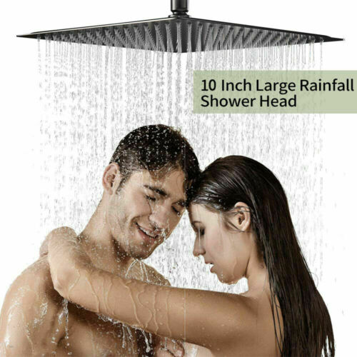 12 inch Square Rainfall Shower Head Top Shower Ultra thin Stainless Steed Black