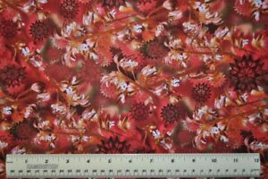 1-2-yard-cotton-quilt-fabric-Wildflowers-Rust-Coral-Root-flowers-floral-meadow
