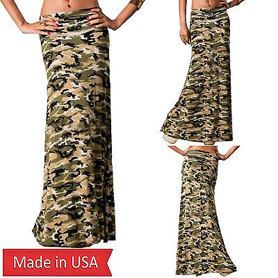 New Women Camo Camouflage Army Print Fold Over Waist Long Maxi Skirt Made in USA