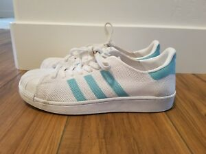 the best attitude abb37 0f468 Details about ADIDAS Superstar Originals Knit Mesh White/Mint Sneakers  BA7137 WOMENS SZ 9
