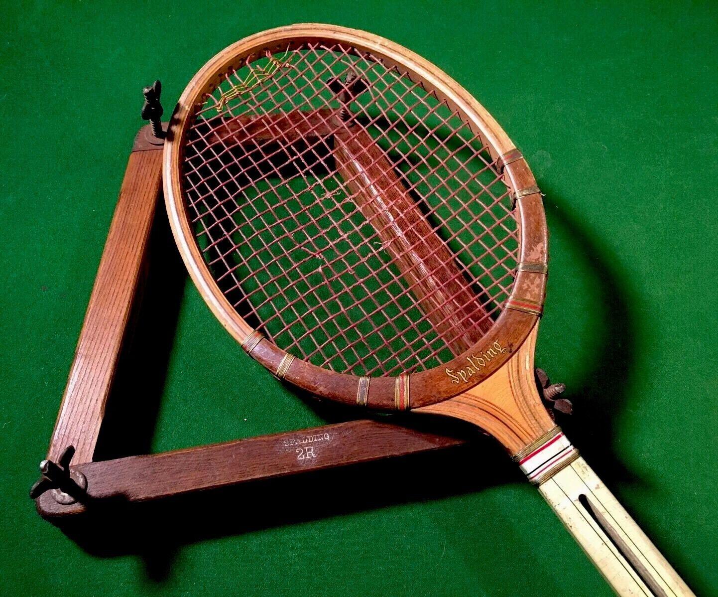 Antiguo Spalding Centre-flite Split garganta Vintage Madera raqueta de tenis con prensa Raro