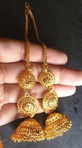 2c8deb9ed 22K Gold Plated Indian 3 Steps Jhumka with Long Chain Earrings ...