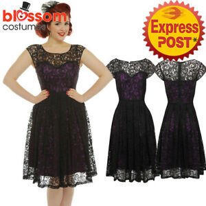 Details About Rkb47 Lindy Bop Blair Purple Lace Evening Party Rockabilly Vintage Dress Plus Sz