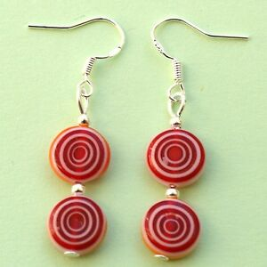 Glass-Drop-Earrings-with-Sterling-Silver-Hooks-amp-Red-Orange-amp-White-Glass-LB253