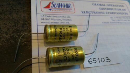 Frako 1000uF25V 16x30 105C LL Axial Electrolytic Capacitor Lot-2pcs