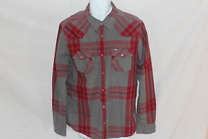 Mens-Guess-Plaid-PEARL-SNAP-Long-Sleeved-Shirt-Size-LG