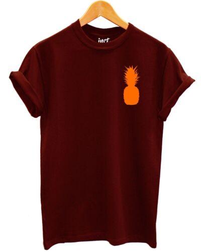 Pineapple logo t shirt orange fruit Pocket lumineux d/'été Style Mode Indie
