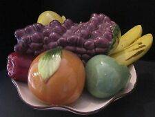 "Italian Ceramic Tutti Frutti Centerpiece Fruit Basket Bowl Made in Italy. 11"" w"