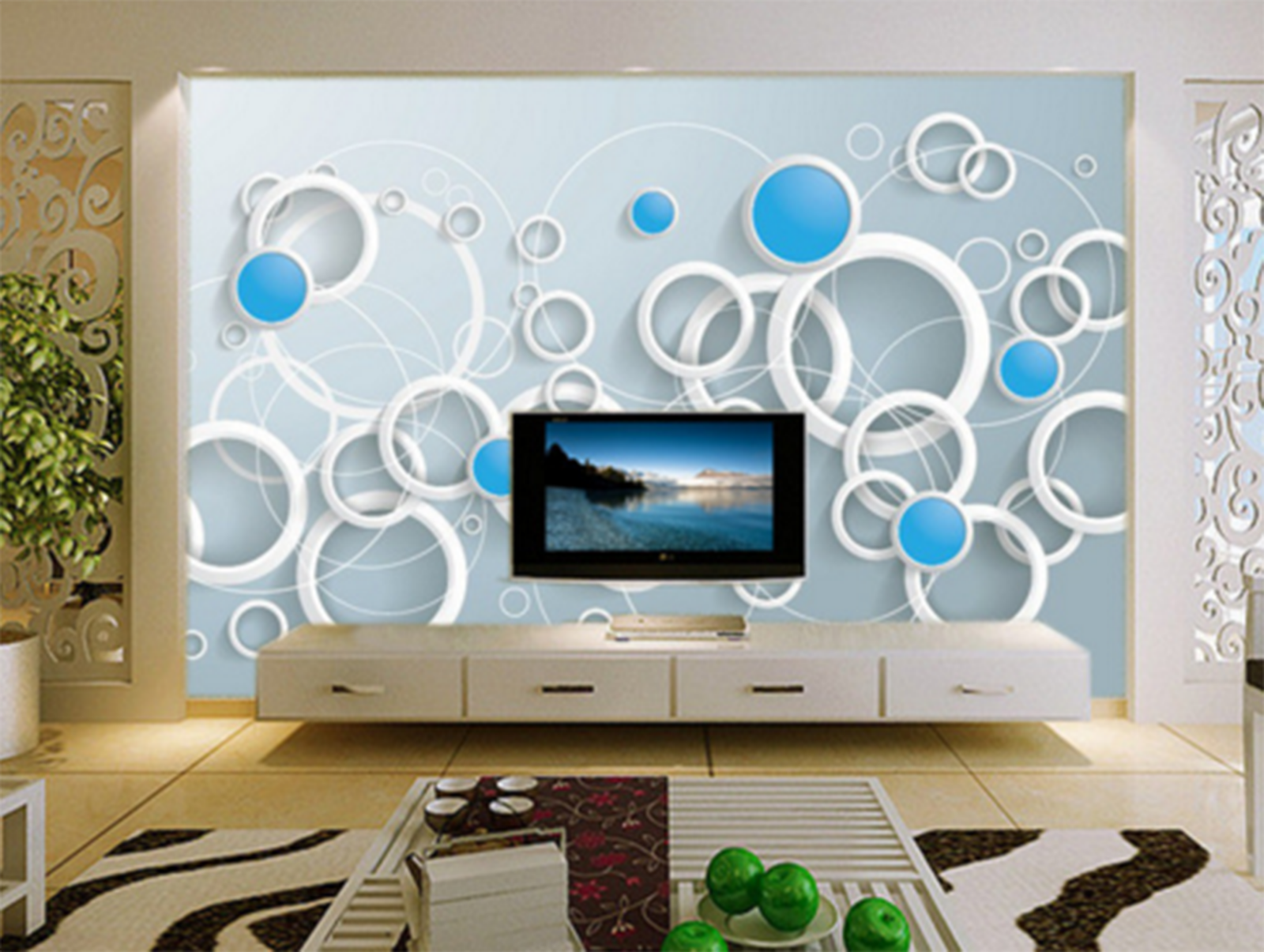 3D Circle Modern 415 Wallpaper Murals Wall Print Wallpaper Mural AJ WALL UK Kyra