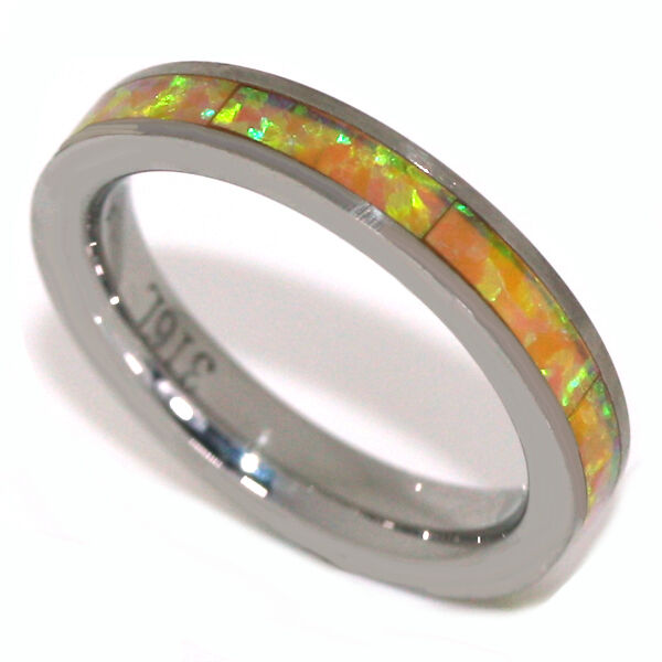 Stainless Steel Eternity Ring 3MM Yellow Fire Opal Stackable Band