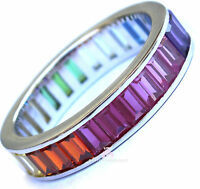 925 Beauty For Ashes Gods Promise Rainbow Multi Color Cz Eternity 4mm Band Ring