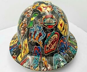 Details about FULL BRIM Hard Hat custom hydro dipped , NEW WICKED GAMBLER  OSHA APPROVED NEW