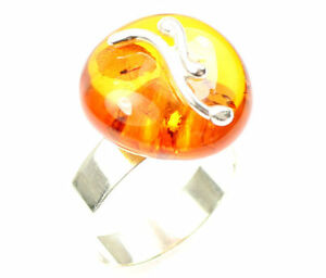 Lovely-Baltic-Amber-amp-925-Sterling-Silver-Unique-Ring-RG0285