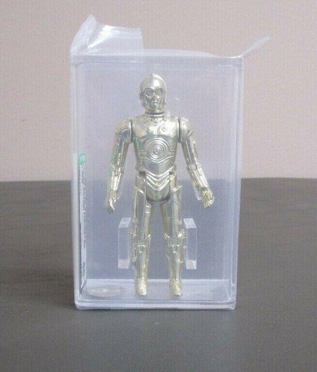 C-3PO 1977 Estrella Wars Graduado Afa 80+ casi como nuevo HK Coo JJ nuevo caso  2