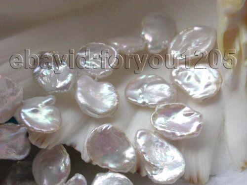 """18/"""" Véritable Naturel Blanc 20 mm reborn Keshi pétale de collier de perles 14k #f1286!"""