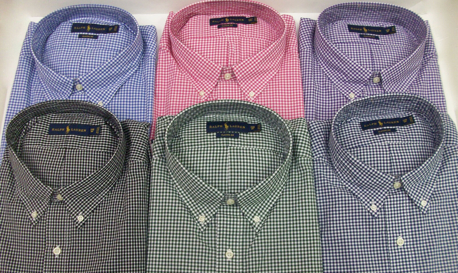 Polo Ralph Lauren Gingham Plaid Classic Fit Poplin Cotton Shirt  W  Pony NWT