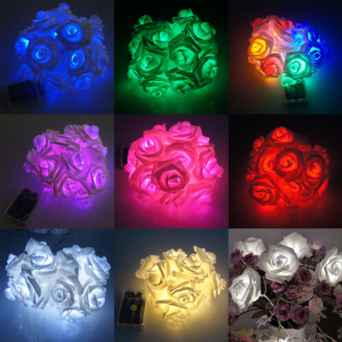 20 LED Battery Operated Rose Flowers String Fairy Lights Party Home Decora EN2