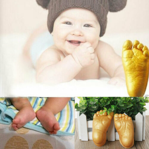 Baby Casting Kit 3D Hand Print Footprint Hand Foot Plaster Cast Mould Gold Feet