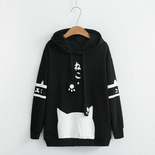 Neko Cat Harajuku Lolita Hoody Hoodie Pullover Student Girl Women Sweater Jacket