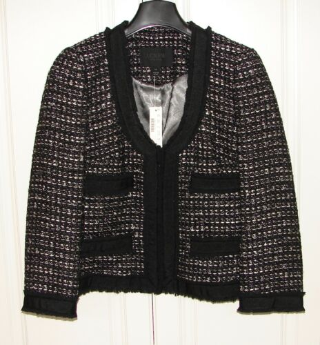 Crew J Nwt Sz Blazer Collection Tweed Black a0028 Jacket 10 wxxFp