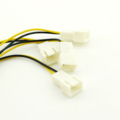 Molex 4 Pin Male to 4 x 3 Pin Male Computer Fan Y Splitter Extension Cable Wire