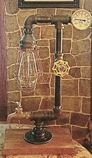 Retro Industrial Steampunk style Lamp with spigot, temp gauge,cage and bulb