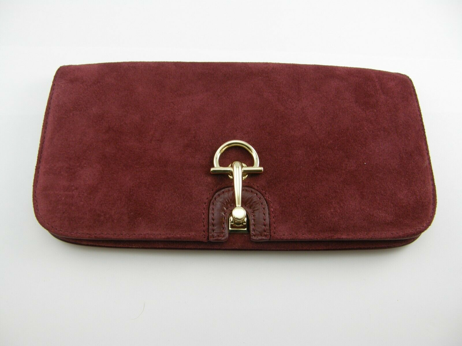 TALBOTS BURGUNDY SUEDE CLUTCH PURSE WITH GOLD TONE MAGNETIC LATCH