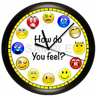 Emoji Smiley Face Wall Clock Humor Funny Cute Red Blue Yellow Smile