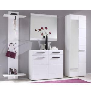 Schrank weiß hochglanz mit spiegel  Garderoben Set Derby Spiegel Kommode Schrank 4-teilig in weiß ...