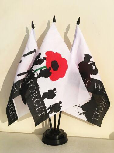 "LEST WE FORGET TABLE FLAG TRIPLE SET 9X6/"" 22.5cm x 15cm RAF NAVY ARMY MILITARY"