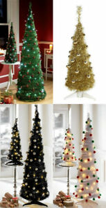 Details About 6ft Or 3ft Black White Green Instant Pop Up Baubles Christmas Tree Led Xmas