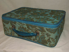 Vtg Womens Suitcase Hatbox Camera Case Hardside Luggage Train Carryon Bag Blue