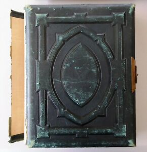 Large-Antique-1880s-Victorian-Leather-Photograph-Album-30-Victorian-Photos-LAYBY