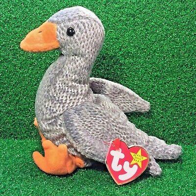c43b850d157 New 1999 Ty Beanie Baby Honks The Goose Rare Retired Plush Bird MWMT Ships  FREE