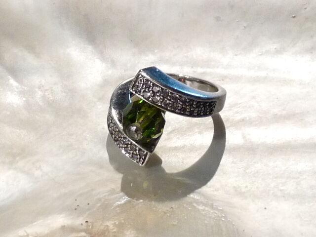 Bijou silver 925 bague solitaire cristal péridot et oxydes  ring