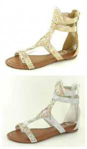 F0769-Ladies-Savannah-Strappy-Gladiator-Style-Sandals-2-Colours-Gold-amp-Silver