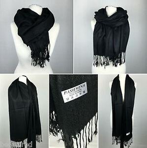 BLACK Pashmina Scarf   Ladies Large Shawl 100% Wool Plain Tassels   UK NEXT DAY