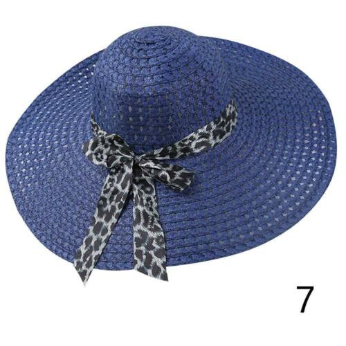Damen Sommer Sun Strand Floppy Derby Hut Breiter großer Krempe Stroh-Bögen B9E3