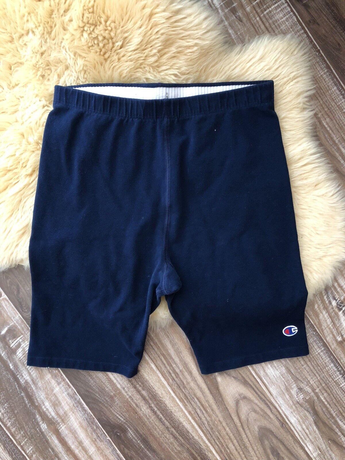 Unisex Vintage 80's Navy bluee Spandex Shorts Champion Size XXL Tights Made USA