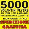 STAMPA 5000 VOLANTINI FLYERS A5 15X21CM A COLORI! SPEDIZIONE GRATUITA!