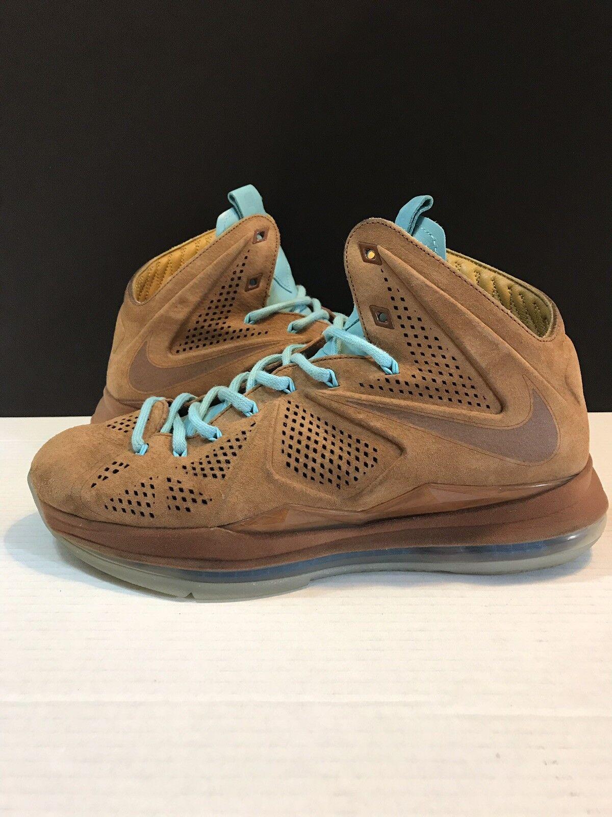 best sneakers f322d 463a0 Nike Lebron 10 X Ext Nocciola Marrone Scamosciato Taglia Taglia Taglia 10  607078-200 Sughero. Uomo ...