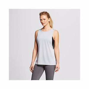 66284bac719010 NEW C9 Champion Women s Muscle Tech Duo Dry Tank Top Shirt ~ Silver ...
