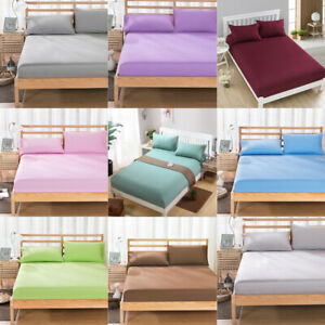 Solid-Color-Fitted-Sheet-Bedding-Cover-Sheet-Deep-Pocket-Bedspread-Home-Decor